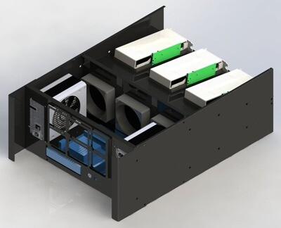 Cryptone-6R - Раздельные потоки, 6GPU, 500x710x250мм, 2 блока АТХ, 3 fan 120/140/150mm w/o