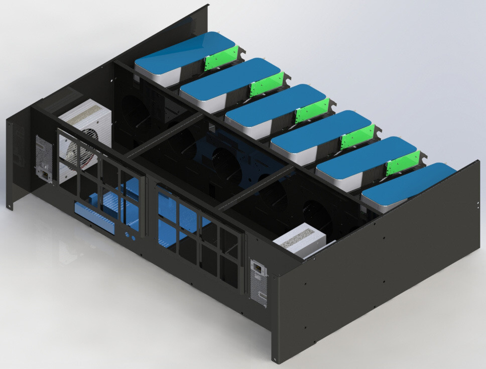 BigCryptone-12R - Раздельные потоки, 12GPU (ALL) 1080х800х300мм, 3 блока АТХ/ServerPSU, 6 fan 120/140/150m