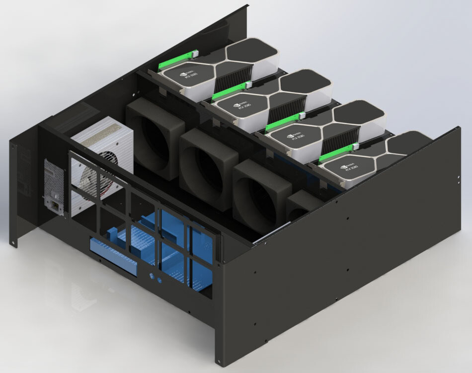 BigCryptone-8R - Раздельные потоки, 8GPU (all) 720х800х300мм, 2 блока АТХ, 4 fan