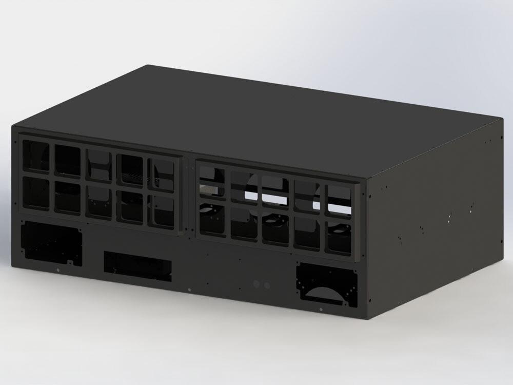 Корпус продувной Cryptone-21/10 (8-13 GPU) 845х570х300, 6 места под блок ATX, 10 fan 120/140/150mm w/o