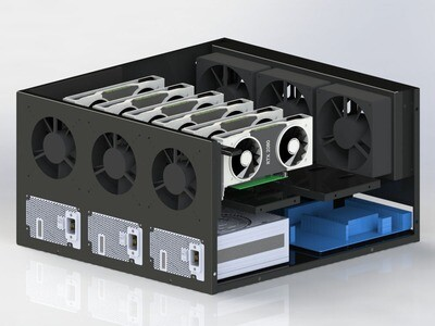 Корпус продувной Cryptone-21/6 (6-8 GPU) 525х570х300, 3 места под блок ATX, 6 fan 120/140/150mm w/o