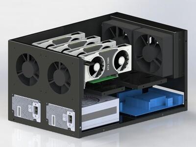 Корпус продувной Cryptone-21/4 (4-6 GPU) 365х570х300, 2 места под блок ATX, 4 fan 120/140/150mm w/o
