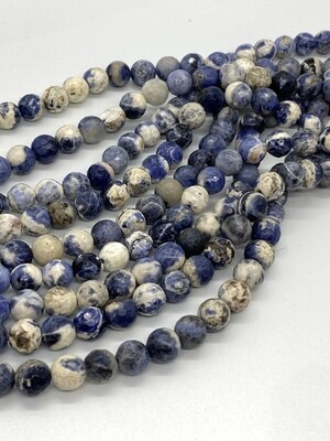 2090 Sodalite Faceted Round 8mm