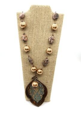 4067 Brass, Stone, Gem, Pendant, Nec
