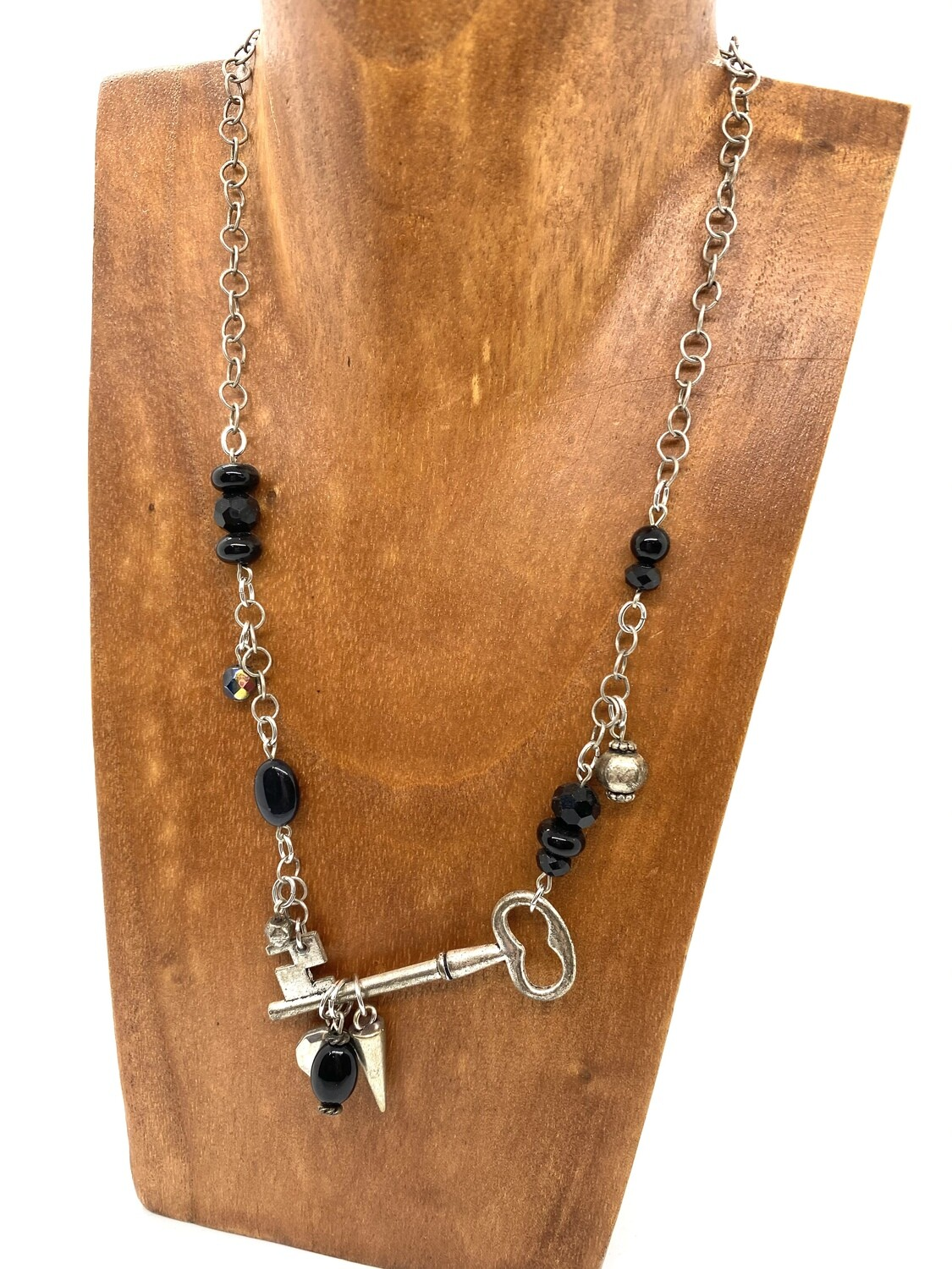 6556 Steampunk Black Key Necklace