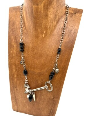 6556 Steampunk Black Key Necklace
