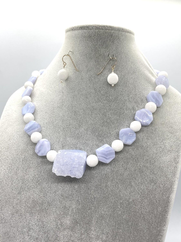 8632 Blue lace agate set