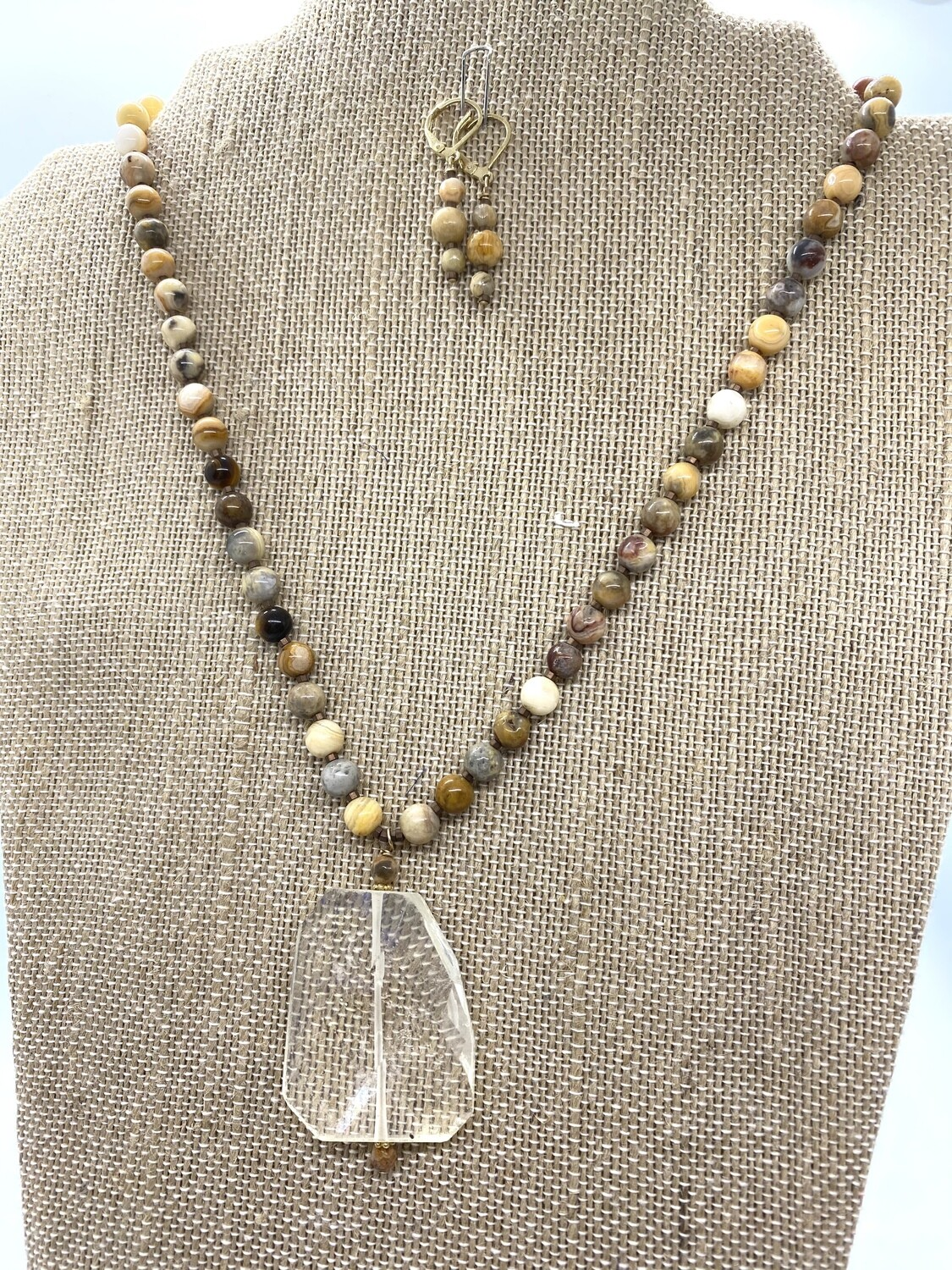 8355 Jasper and Quartz necklace SET