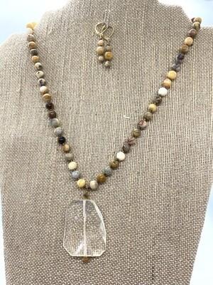 8355 Jasper and Quartz necklace SET