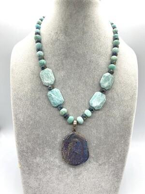 8528 Amazonite/crystal/druzy pend