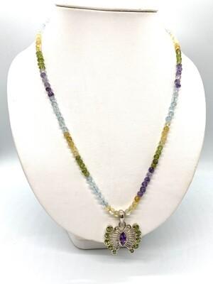 Aug or Feb. birthstone necklace