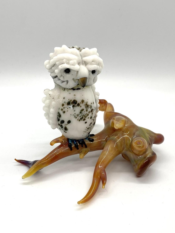 7897 Owl Lampwork Sculpture