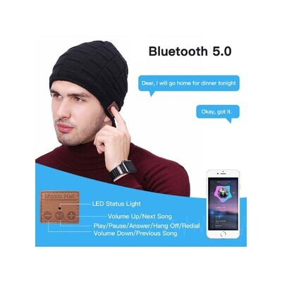 Wireless Bluetooth 5.0 Beanie Headset with Speaker Mic - Textured