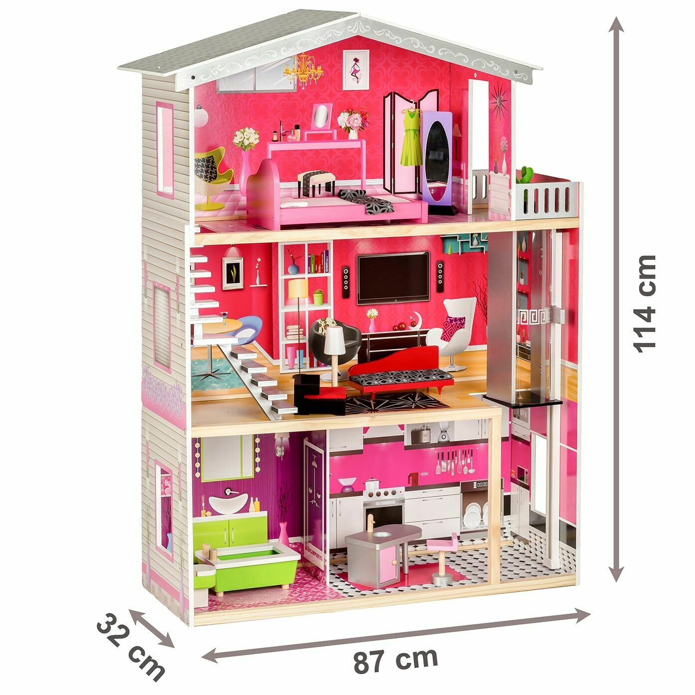 RED WOODEN DOLL HOUSE