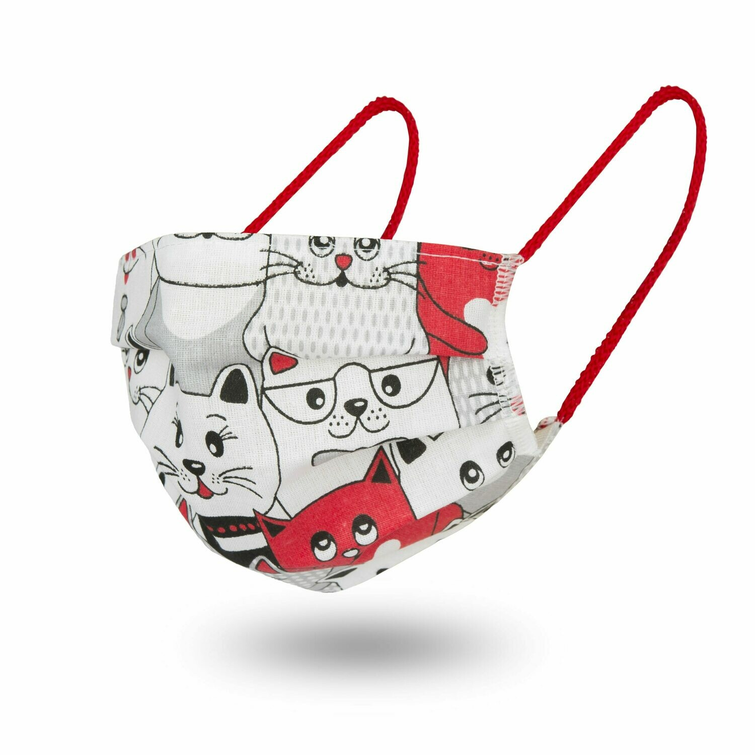 10 FACE MASKS RED CATS