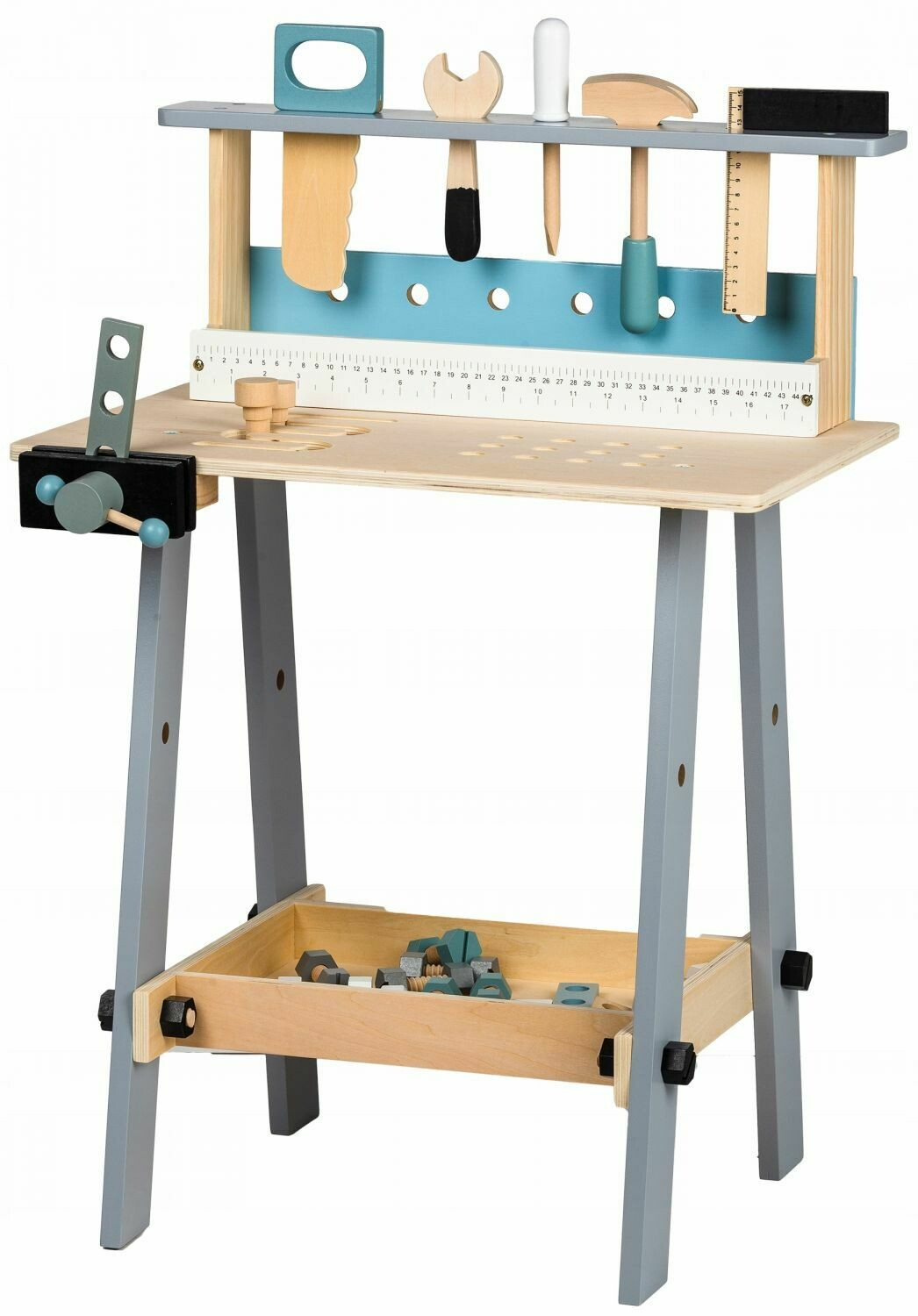 WOODEN WORKBENCH WITH TOOLS