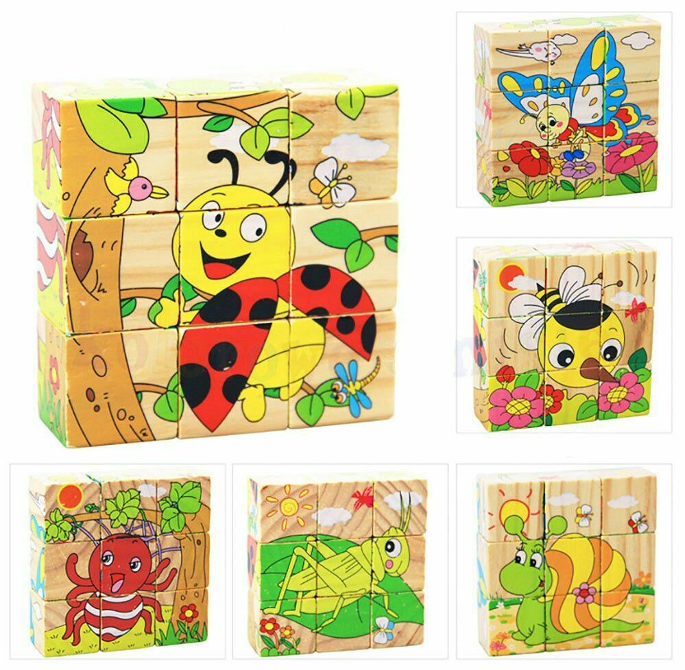 WOODEN BLOCKS - INSECTS. 6 IMAGES