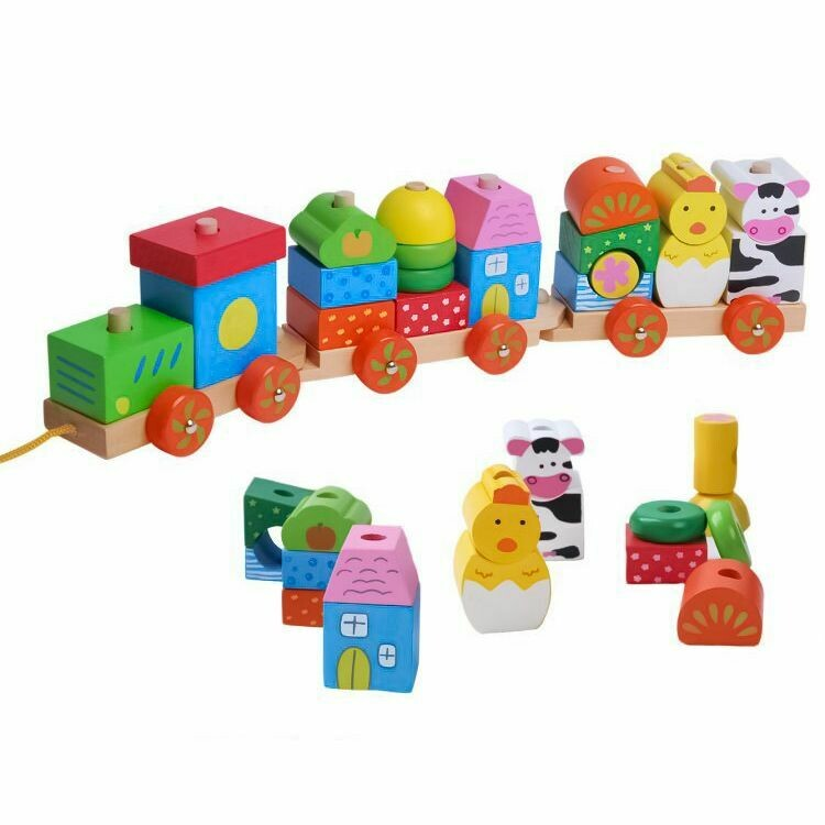 WOODEN TRAIN WITH BLOCKS
