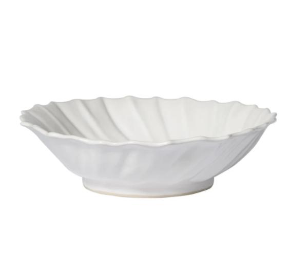 VIETRI White Ruffle Large Bowl INCANTO STONE