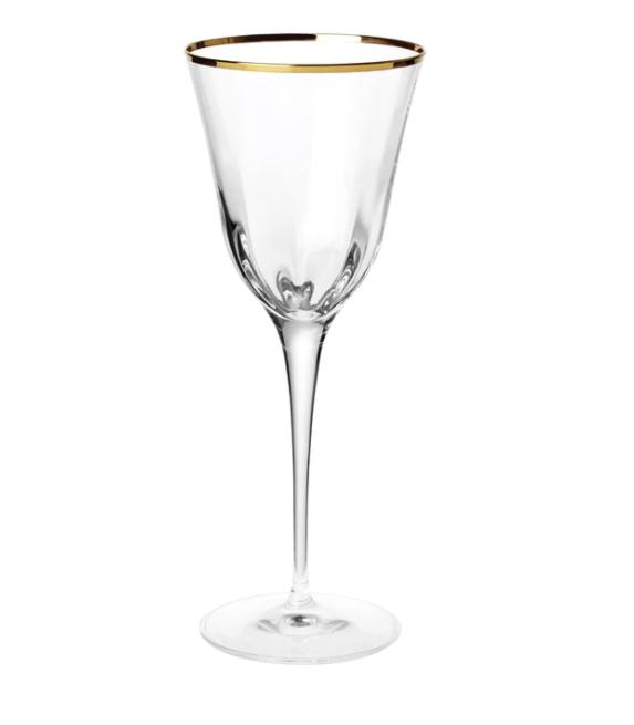 VIETRI Water Glass OPTICAL GOLD