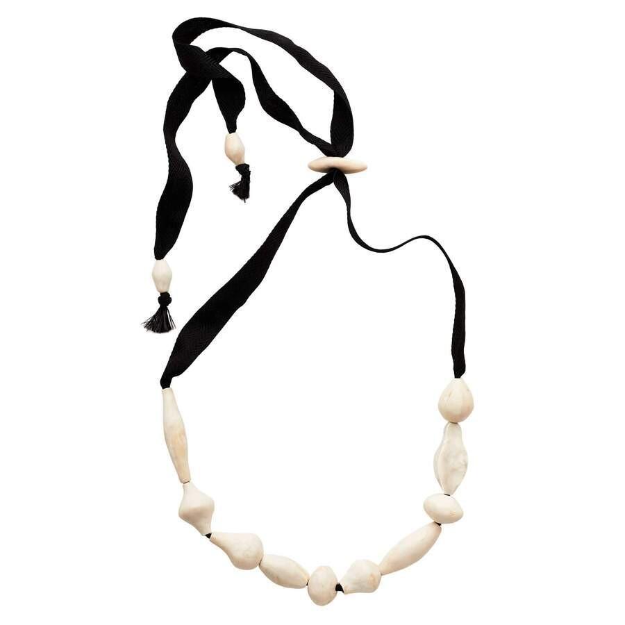 JULIE COHN Brancusi Cream Clay Ribbon Necklace
