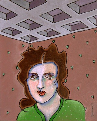 PAUL HARMON Woman & Coffered Ceiling
