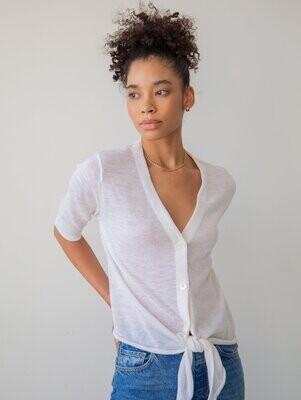 WHITE+WARREN Linen Tie-Front Top