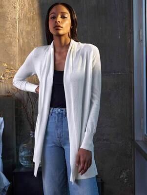 WHITE+WARREN Linen Gauze Open Cardigan