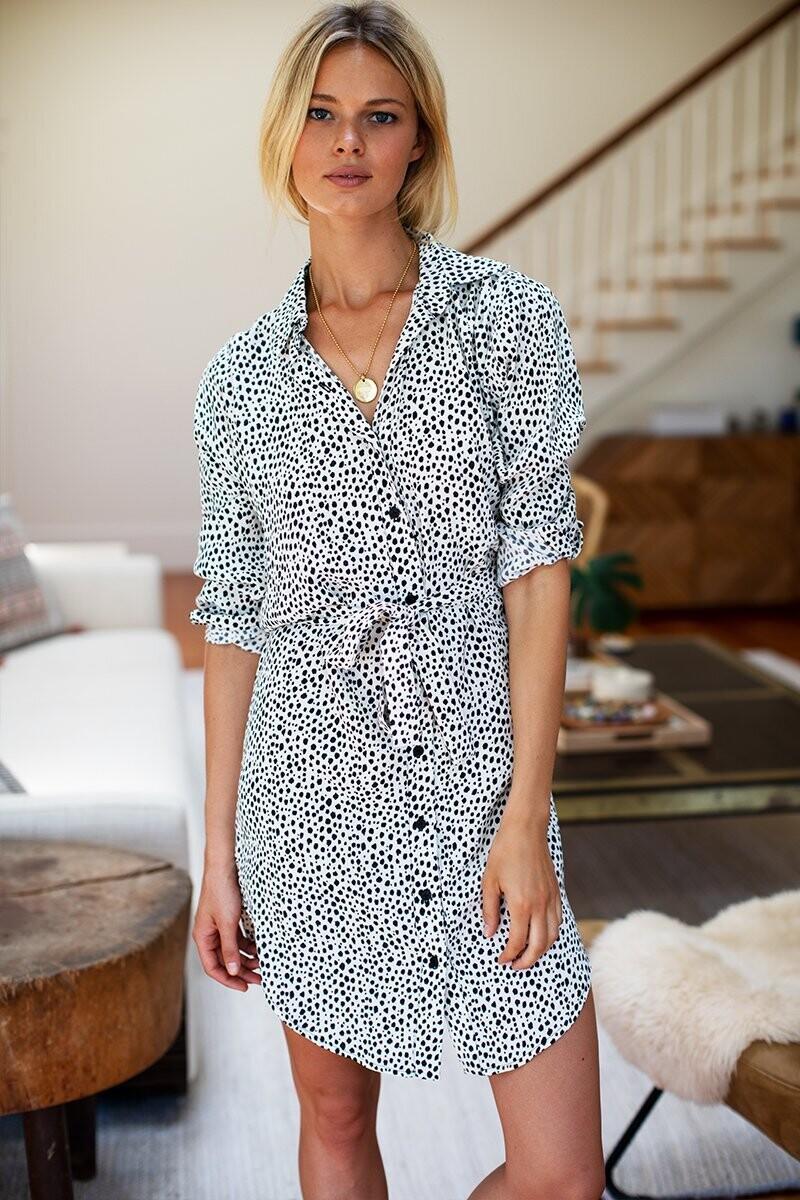 EMERSON FRY Shirtdress, Black + White Cheetah