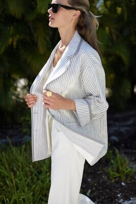 EMERSON FRY Errands Jacket - Graphite Ivory Stripe
