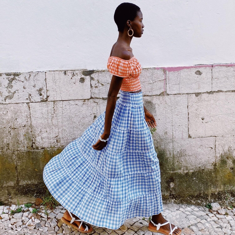 PINK CITY PRINTS Cornflower Gingham Rah Rah Skirt
