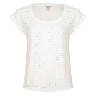 ESQUALO Turned Up Sleeve Broderie Top