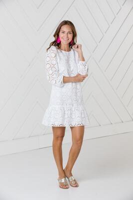 SAIL TO SABLE Eyelet Long Sleeve Dress