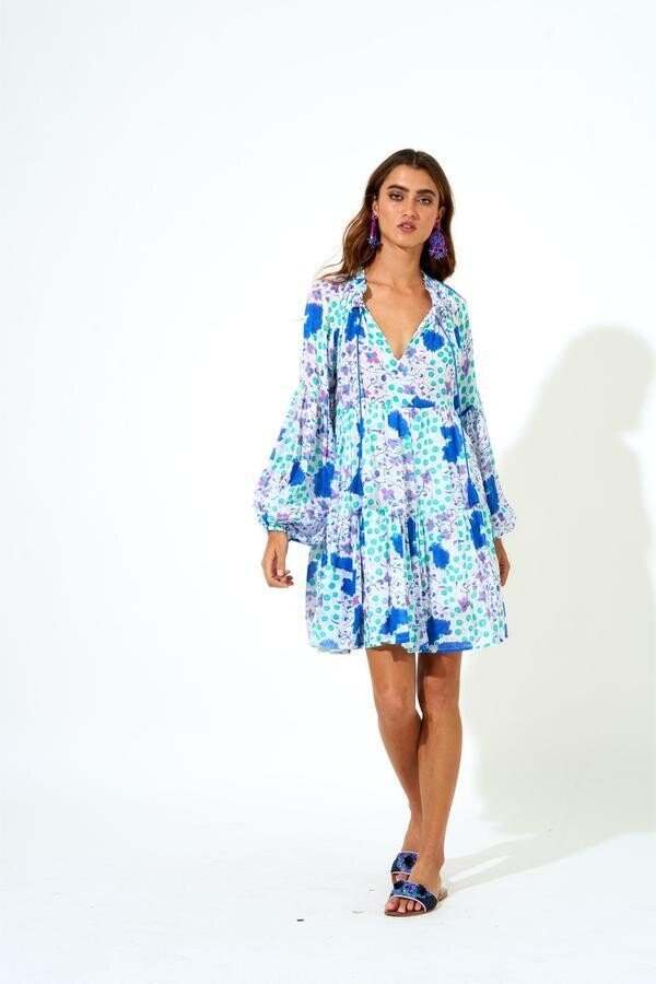 OLIPHANT Balloon Sleeve Dress, Cobalt