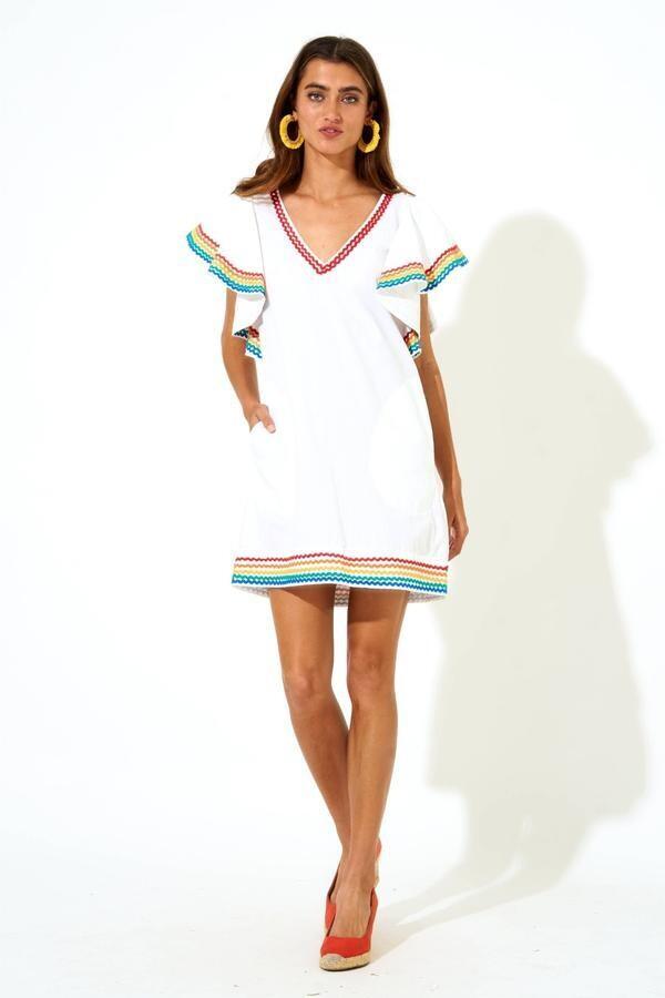 OLIPHANT Flirty V-Neck Short Dress, Cabo White