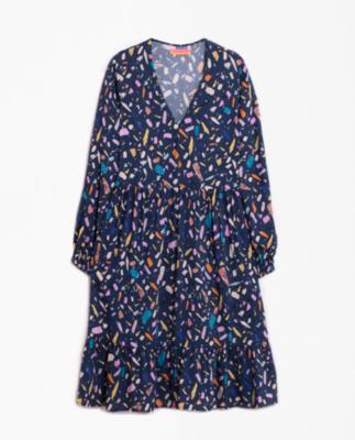 VILAGALLO Navy Terrazo Dress
