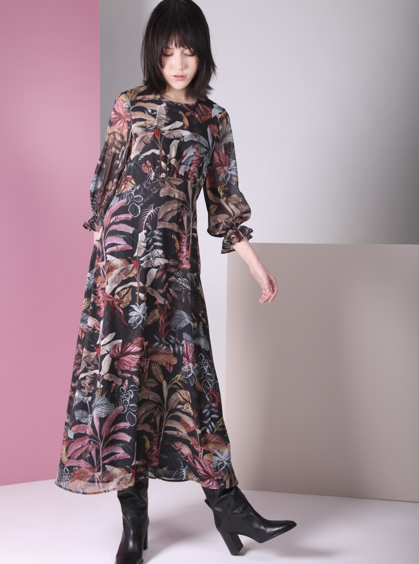 VILAGALLO Kara Dress Sinharaja Print