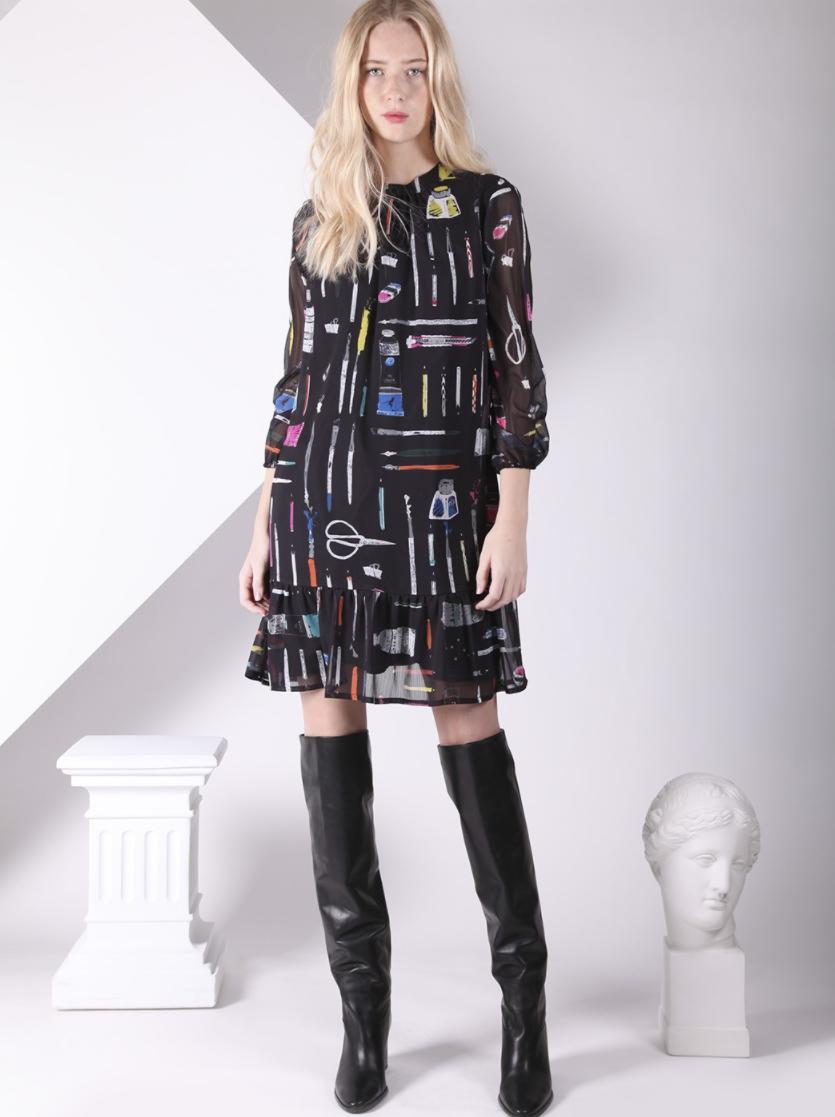 VILAGALLO Lina Dress Black Make Art Print