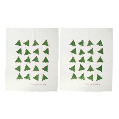 VIETRI Siciliano Holiday Tree Dish Towels SET/2