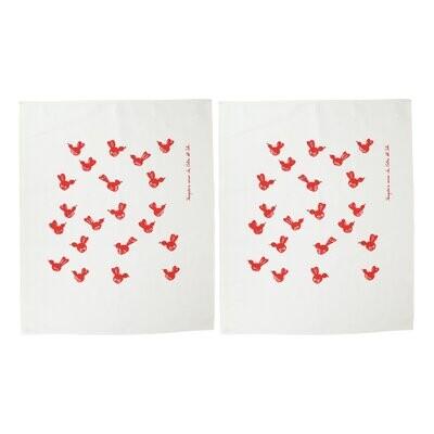 VIETRI Siciliano Linens Red Bird Dish Towels SET/2