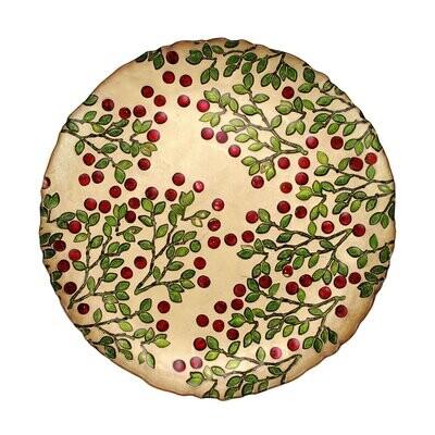 VIETRI Cranberry Glass Round Platter