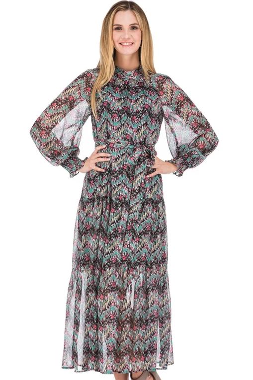 JADE Gathers Neck Maxi Dress - Peacock Chevron