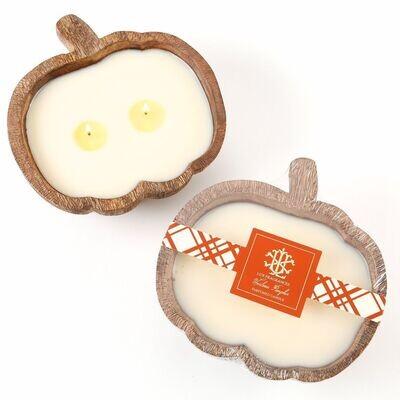 LUX Heirloom Pumpkin Candle In Wooden Pumpkin Bowl