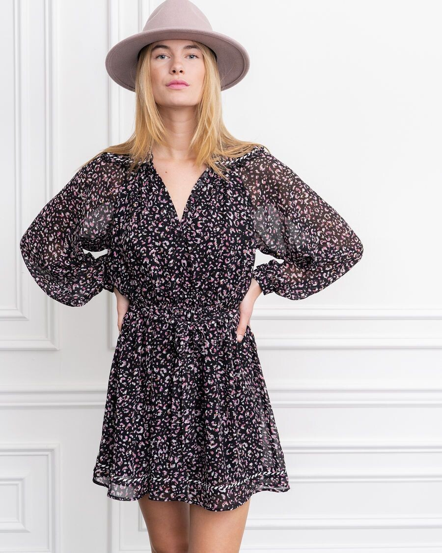 THE SHIRT Taylor Dress (Black/Pink Floral)