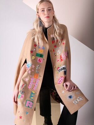 VILAGALLO Hilda Embroidered Cloak