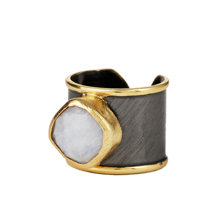 ELYSSA BASS Rhodium Moonstone Cuff Ring