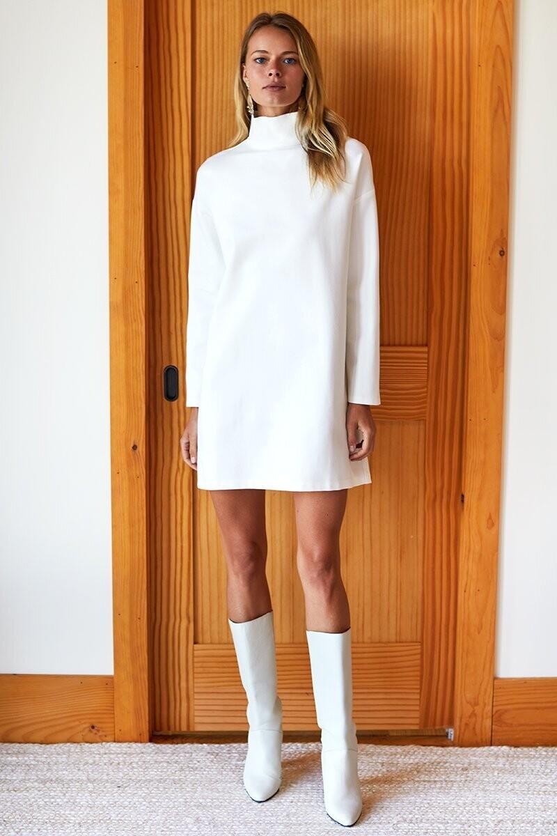 EMERSON FRY Edie Turtleneck Dress (Ivory Ponte)