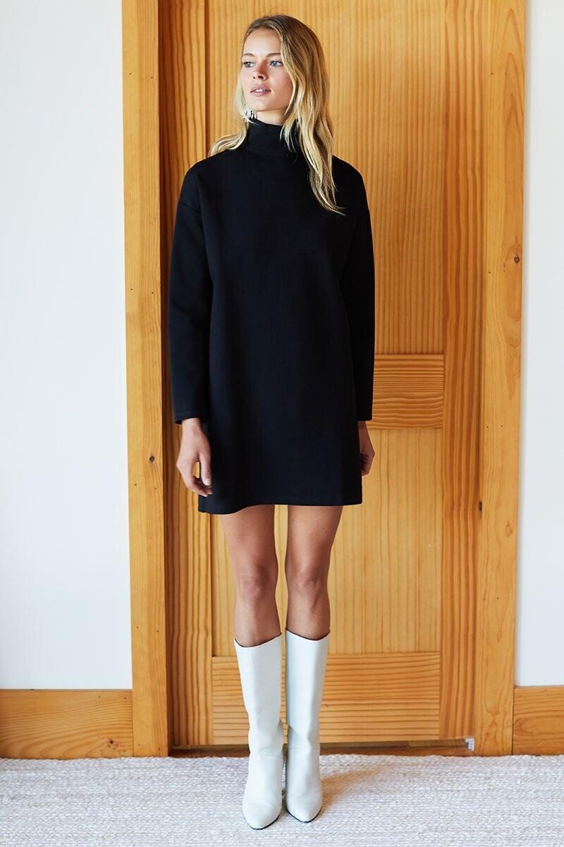EMERSON FRY Edie Turtleneck Dress (Black Ponte)