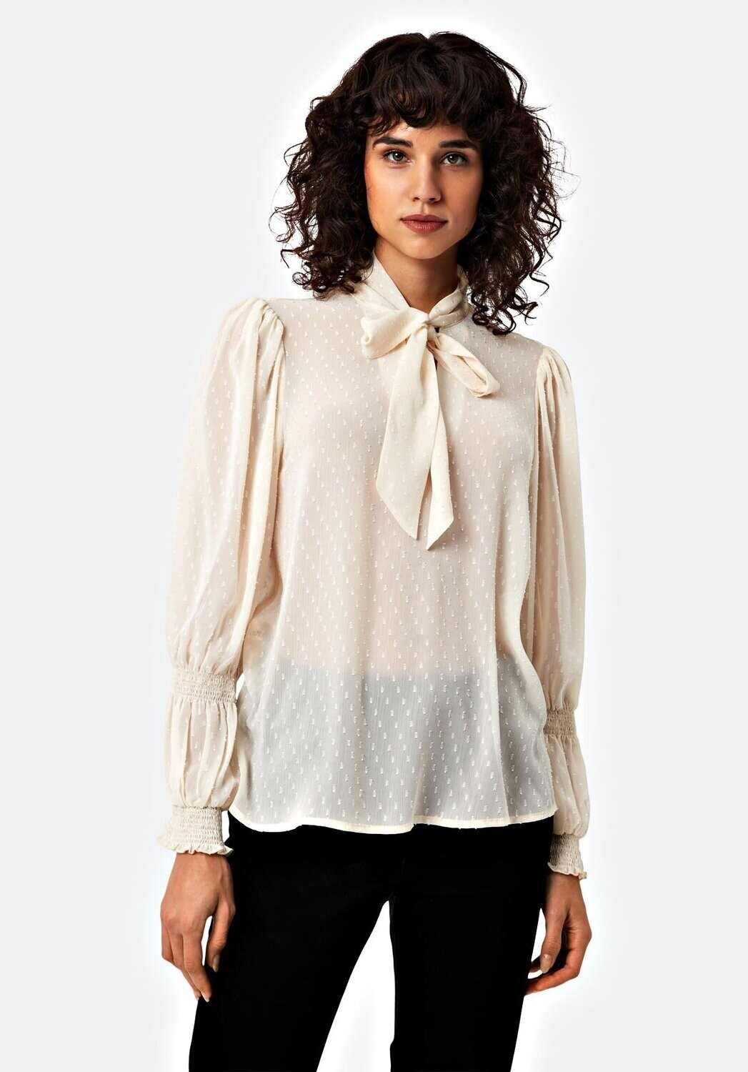 TRAFFIC PEOPLE Stars Aligned Bow Blouse (Ivory)