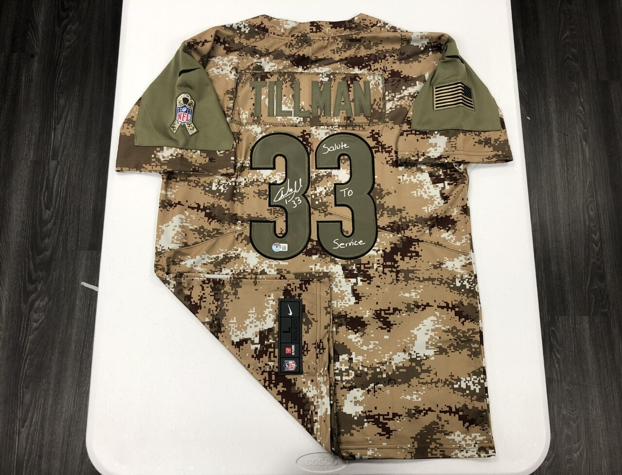 Charles Tillman Signed Camo Salute to Service Jersey (Silver Ink)